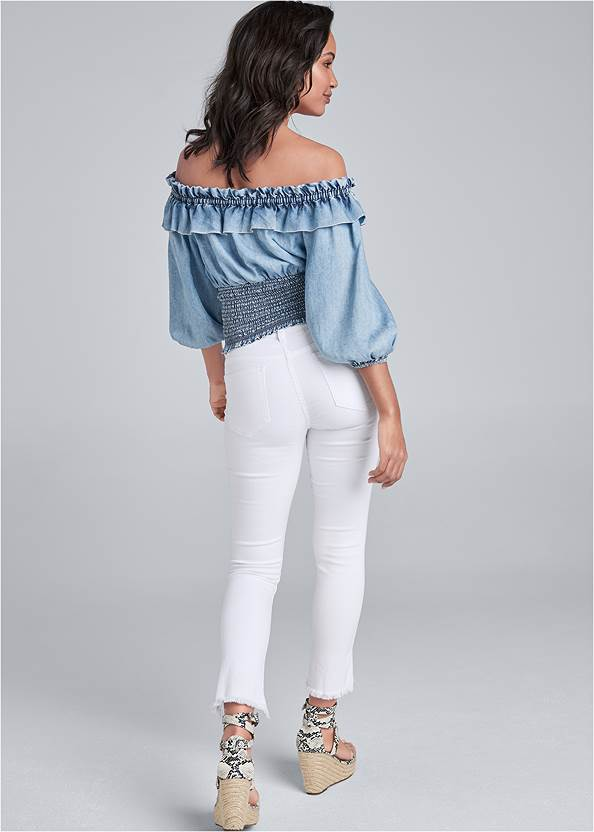 Back View Off Shoulder Chambray Top