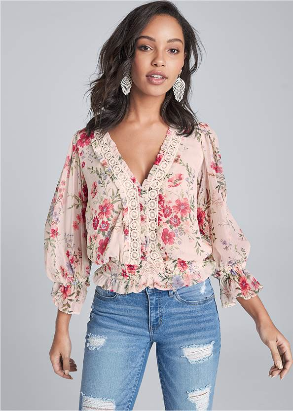 Floral Print Top,Triangle Hem Jeans,Wrap Around Wedges