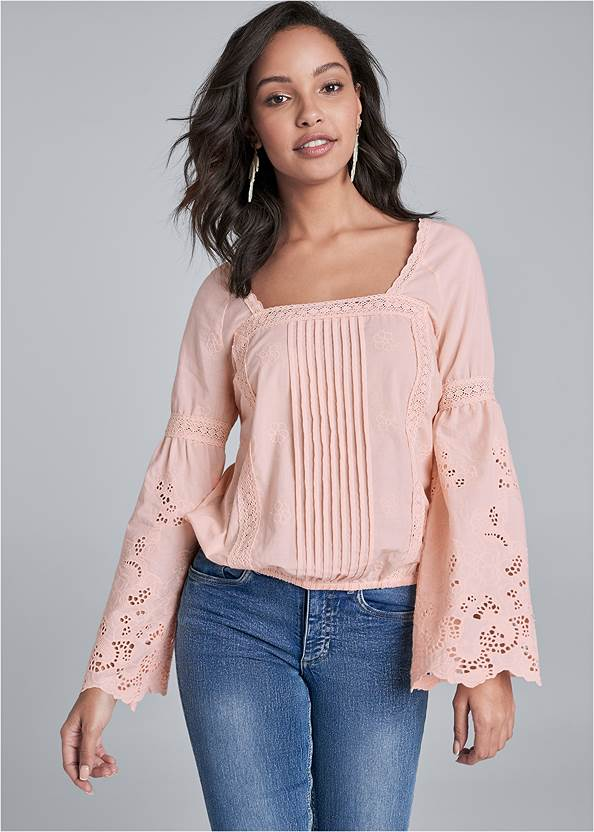 Square Neck Lace Detail Top,Casual Bootcut Jeans,Wrap Around Wedges