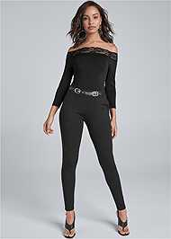 Front View Belted Skinny Pants