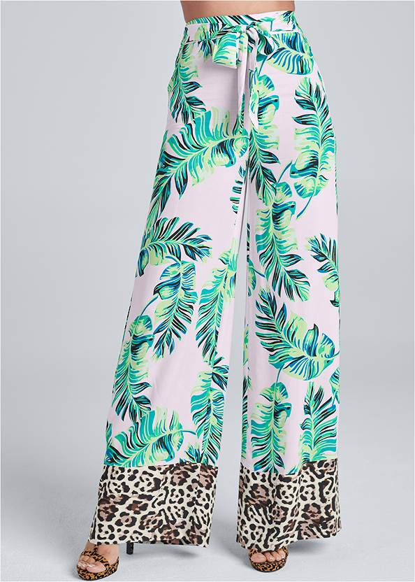 Cropped Front View Palm Print Tie Front Pants