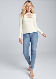 Full front view Open Front Sweater