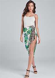 Full Front View Palm Leopard Print Skirt
