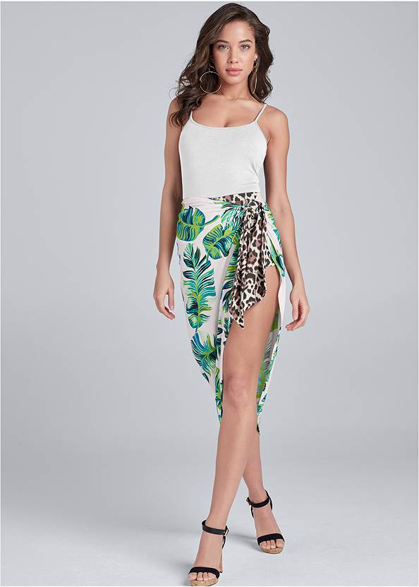 Palm Leopard Print Skirt,Basic Cami Two Pack,Ankle Strap Cork Heels,Natural Tassel Clutch