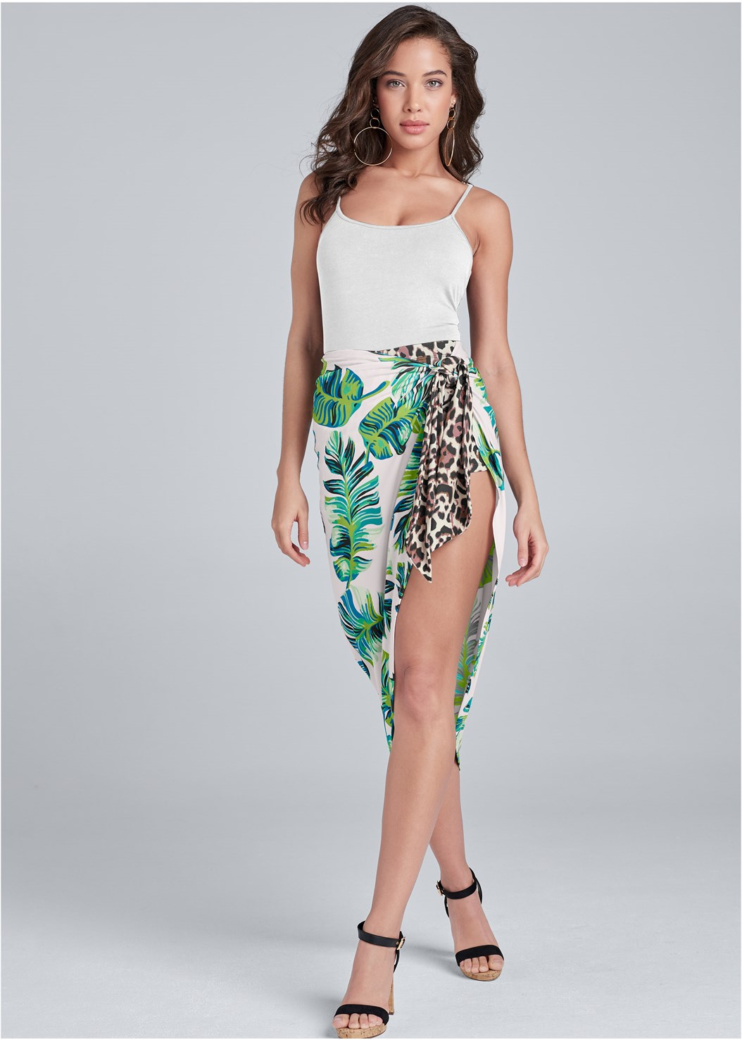 Palm Leopard Print Skirt,Basic Cami Two Pack,Ankle Strap Cork Heel