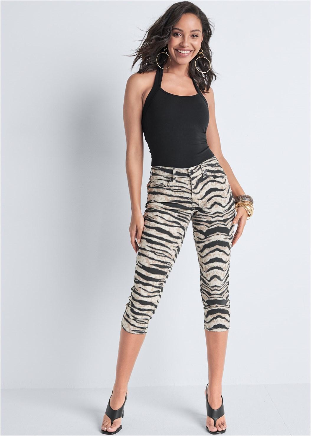 Color Capri Jeans,Easy Halter Top