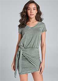 Cropped Front View Lounge Wrap Dress