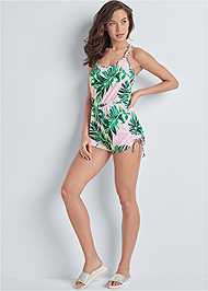 Full front view Drawstring Side Tie Romper