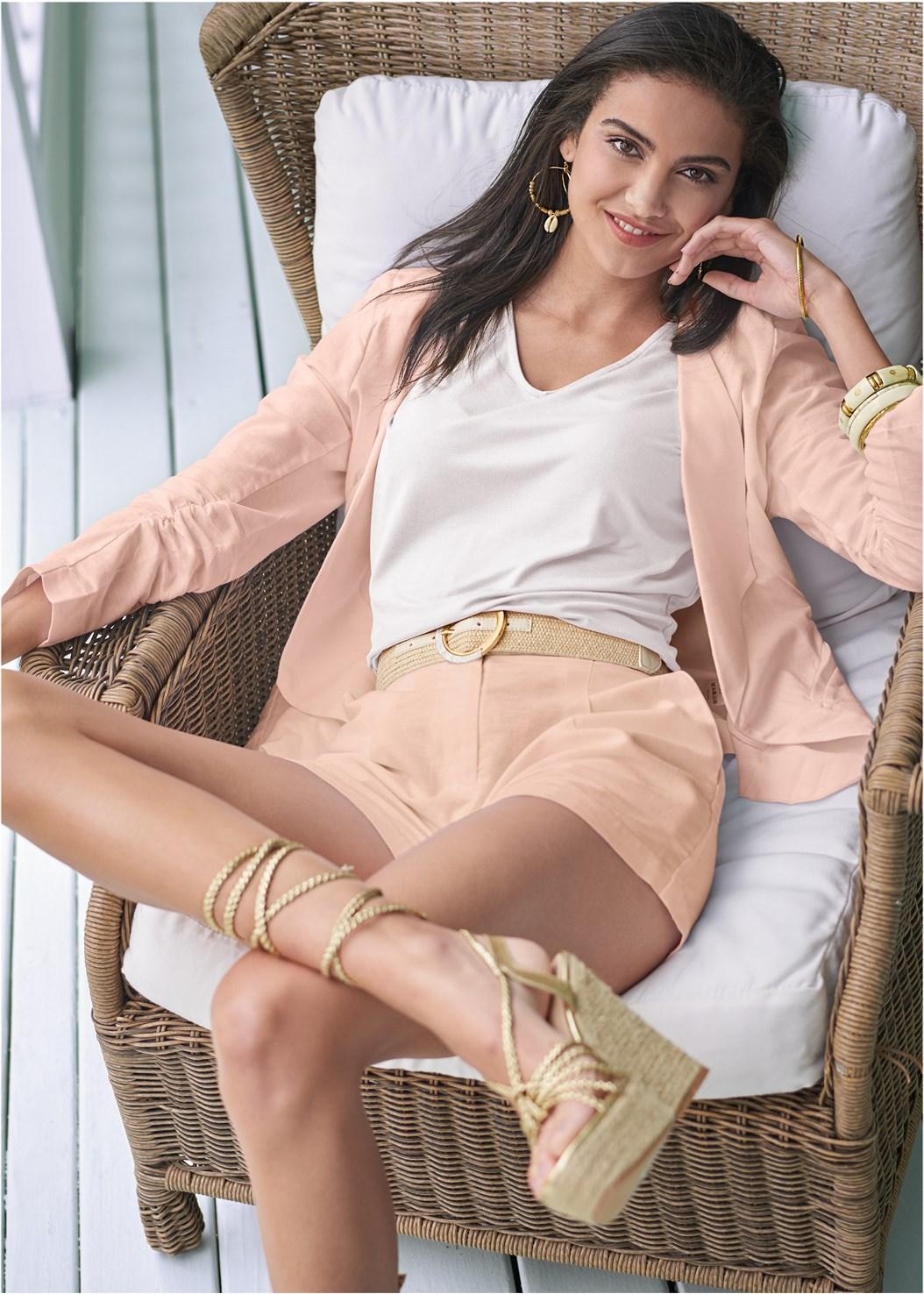 Linen Shorts,Cold Shoulder V-Neck Top,Linen Blazer,Lace Up Espadrille Wedge