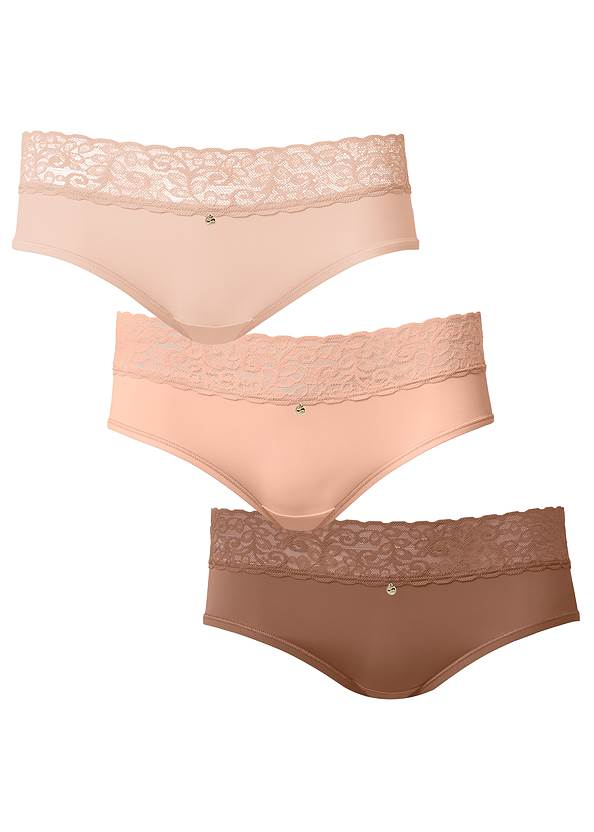Alternate View Pearl By Venus® Lace Trim Hipster 3 Pack