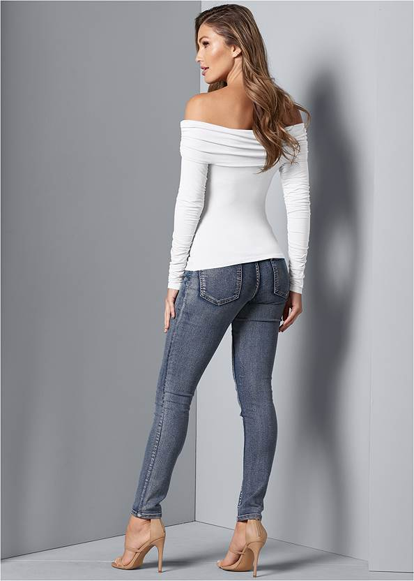 Back View Ruched Off-The-Shoulder Top