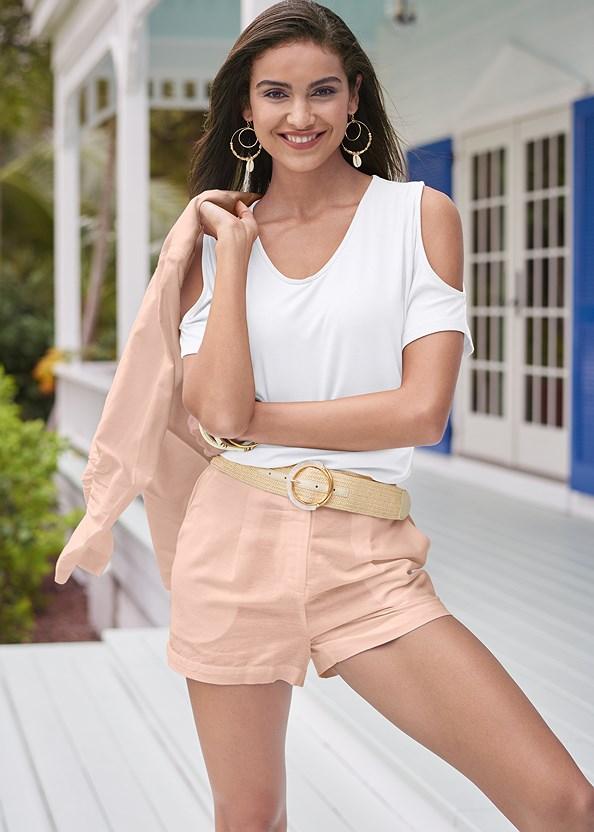 Linen Blazer,Cold Shoulder V-Neck Top,Basic Cami Two Pack,Linen Shorts,Faux Ivory Bangle Set