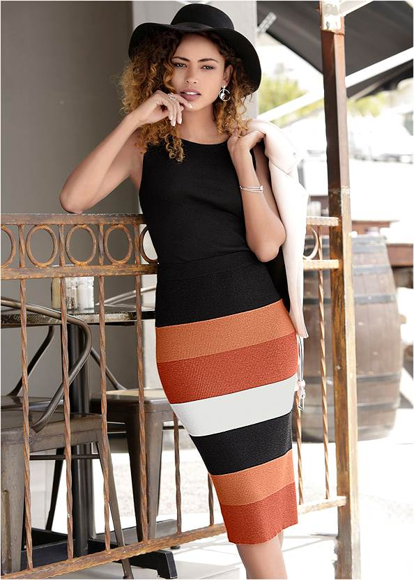 Color Block Sweater Dress,Pearl By Venus® Strappy Plunge Bra,Confidence Seamless Dress,Whipstitch Peep Toe Booties,Beaded Drop Earrings,Fringe Wristlet Bag,Wide Brim Buckle Hat