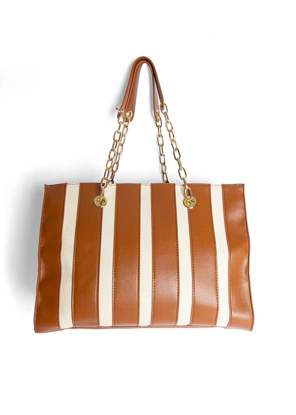 Back View Canvas Striped Tote Bag
