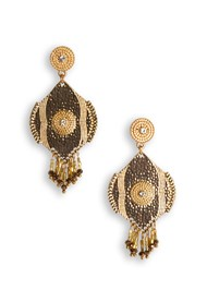 Front View Beaded Fringe Medallion Ear