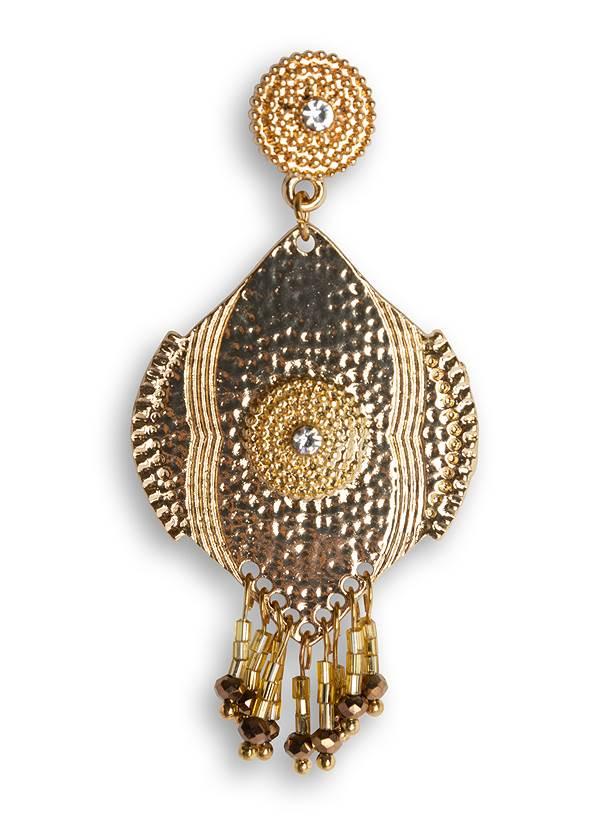 Alternate View Beaded Fringe Medallion Earrings