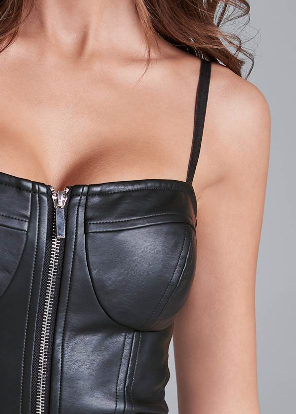 Detail front view Faux Leather Bustier Top