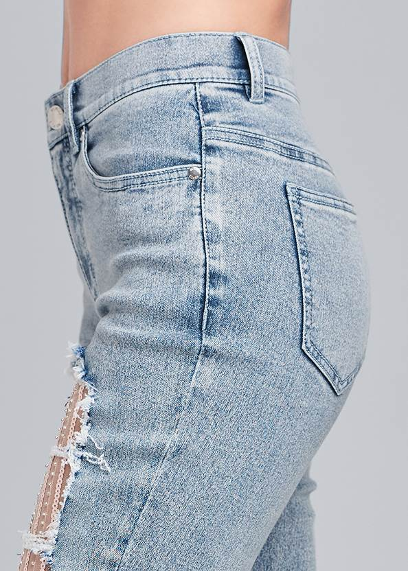 Detail side view Sequin Mesh Detail Jeans