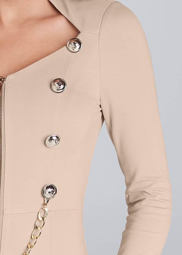 Detail front view Zip Up Midi Dress
