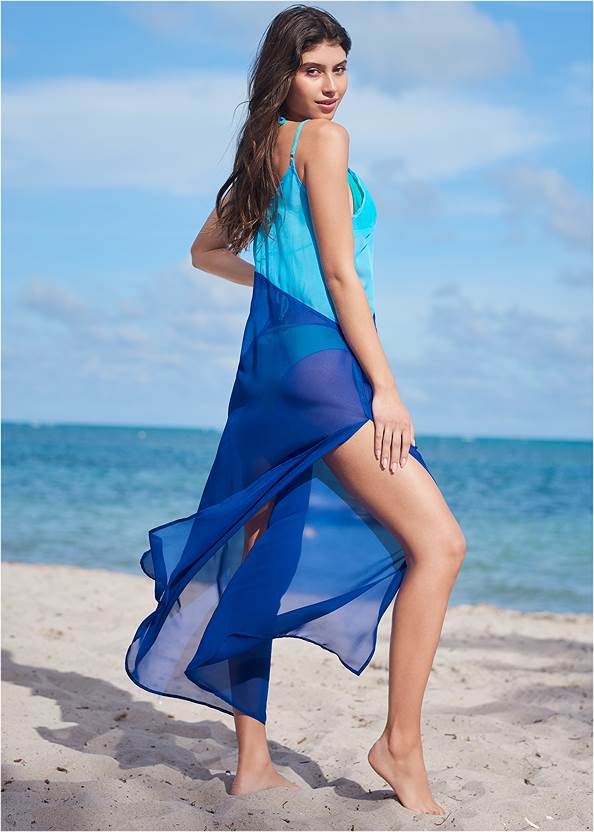 Full back view Color Block Maxi Dress Cover-Up