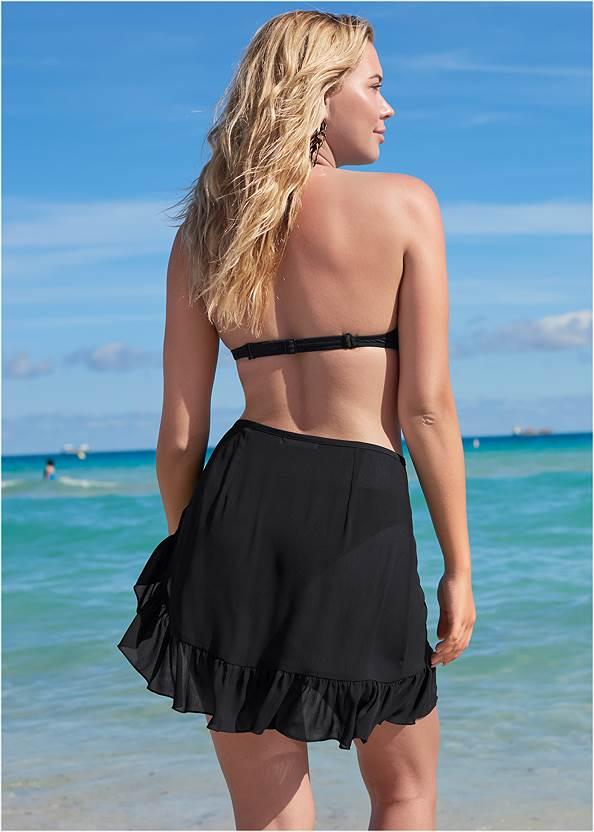 Cropped back view Ruffle Trim Wrap Skirt