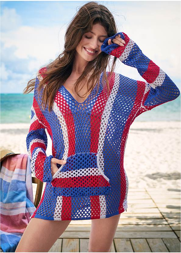 Hoodie Cover-Up,Triangle String Bikini Top,Scoop Front Classic Bikini Bottom ,Strappy Racerback One-Piece,Net Bag