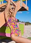 Cropped front view Sweetheart Tie Front Halter Monokini