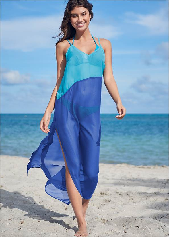 Color Block Maxi Dress Cover-Up,Triangle String Bikini Top,Mid Rise Hipster Classic Bikini Bottom,Slimming One-Piece,Studded Flip Flops