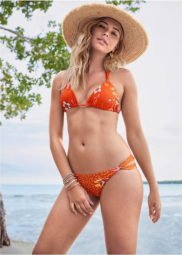 Bold Triangle Top,Bold Bottom,Mid Rise Hipster Classic Bikini Bottom,Crochet Detail Cover-Up