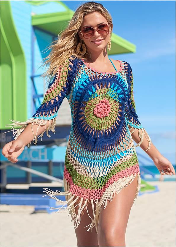 Crochet Detail Coverup,Triangle String Bikini Top,String Side Bikini Bottom,Applique Bandeau One-Piece,Macrame Handbag,Multi Color Stone Sandals