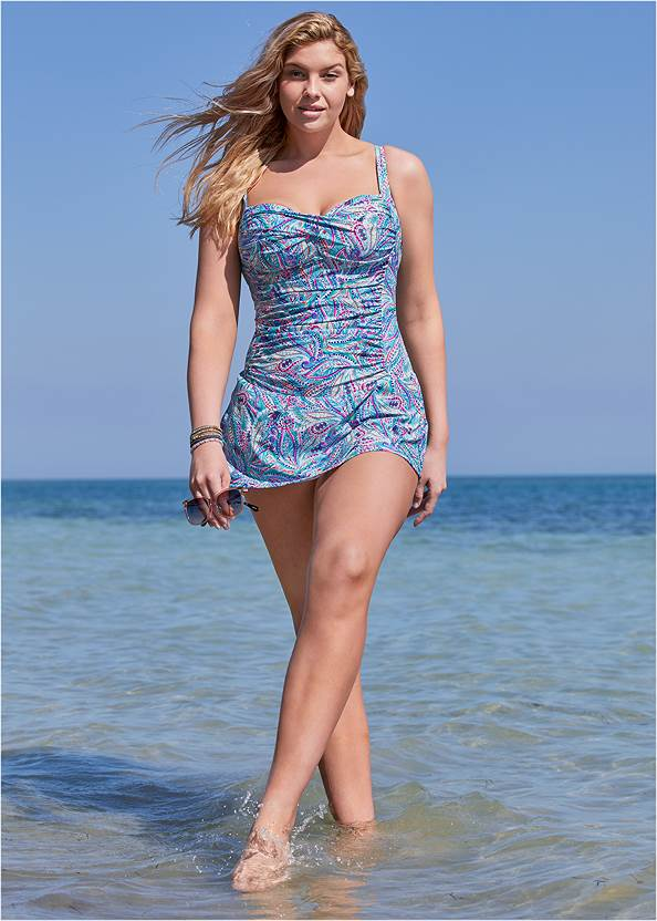 Alternate View Slimming Skirted One-Piece