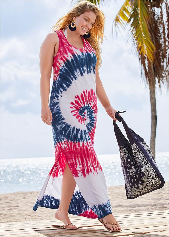 Tie Dye Maxi Coverup Dress,Marilyn Underwire Push Up Halter Top,Full Coverage Mid Rise Hipster Bikini Bottom,Crisscross One-Piece,Studded Flip Flops