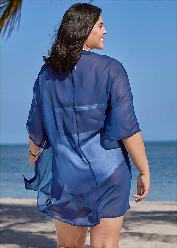 Back View Sheer Kimono Cover-Up