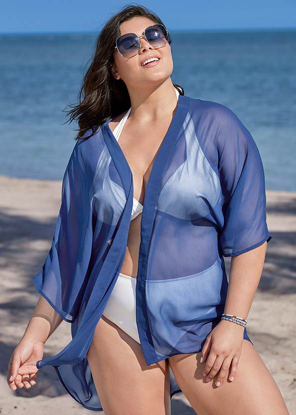 Sheer Kimono Cover-Up,Marilyn Underwire Push Up Halter Top,Full Coverage Mid Rise Hipster Bikini Bottom,Dreamy One-Piece