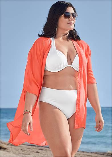 Plus Size Sheer Kimono Cover-Up