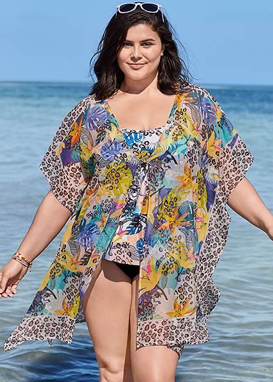 Plus Size Front Tie Kimono Cover-Up
