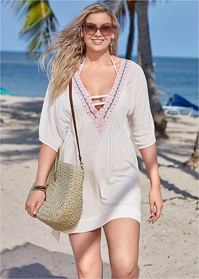 Plus Size Embroidered Kaftan Cover-Up