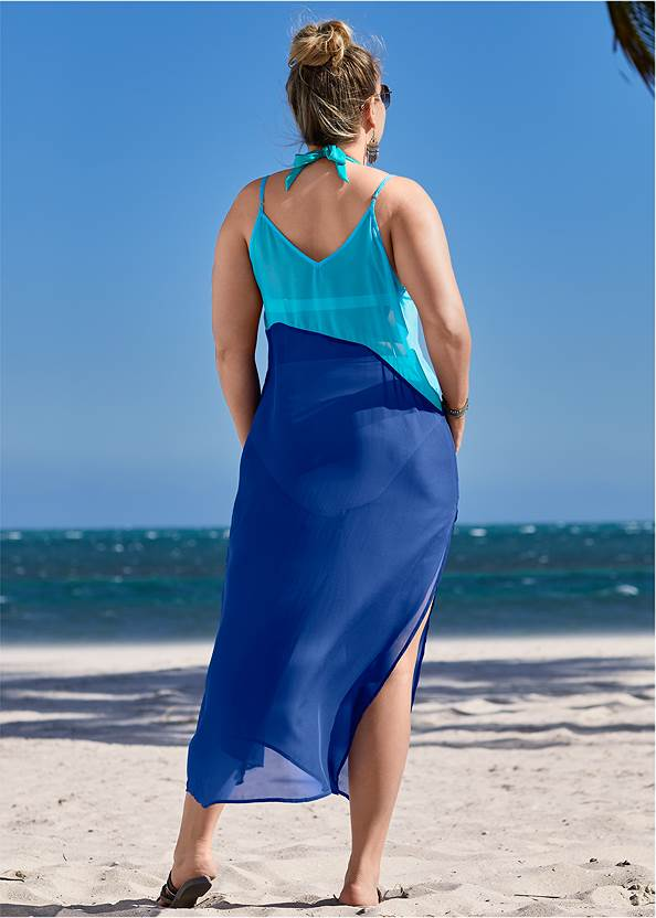 Alternate View Color Block Maxi Dress Cover-Up