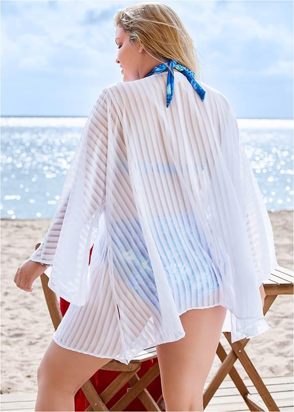 Back View Shadow Striped Kimono Cover-Up