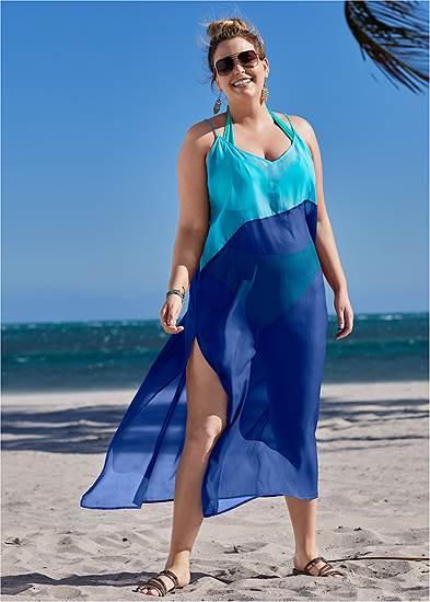 Plus Size Color Block Maxi Dress Cover-Up