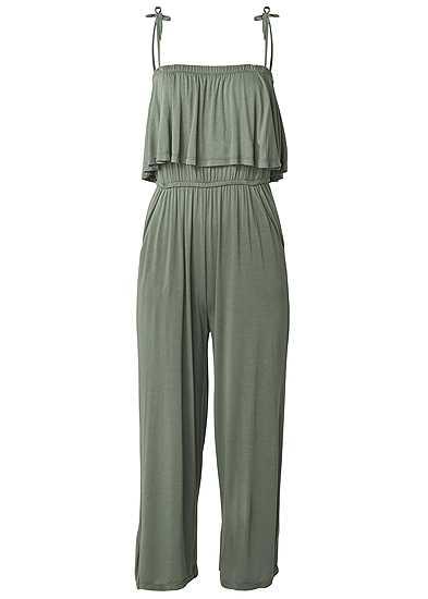 Plus Size Tie Strap Casual Jumpsuit