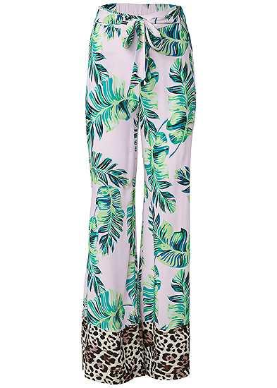 Plus Size Palm Print Tie Front Pant