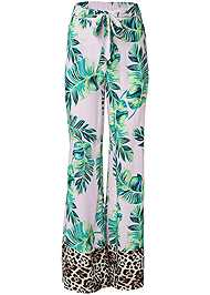 Alternate View Palm Print Tie Front Pant