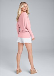 Back View One Shoulder Rib Sweater