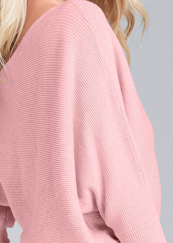 Alternate View One-Shoulder Ribbed Sweater