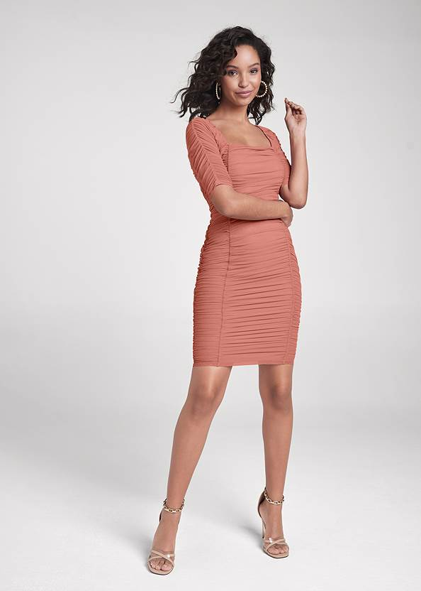 Full Front View Ruched Mesh Bodycon Dress