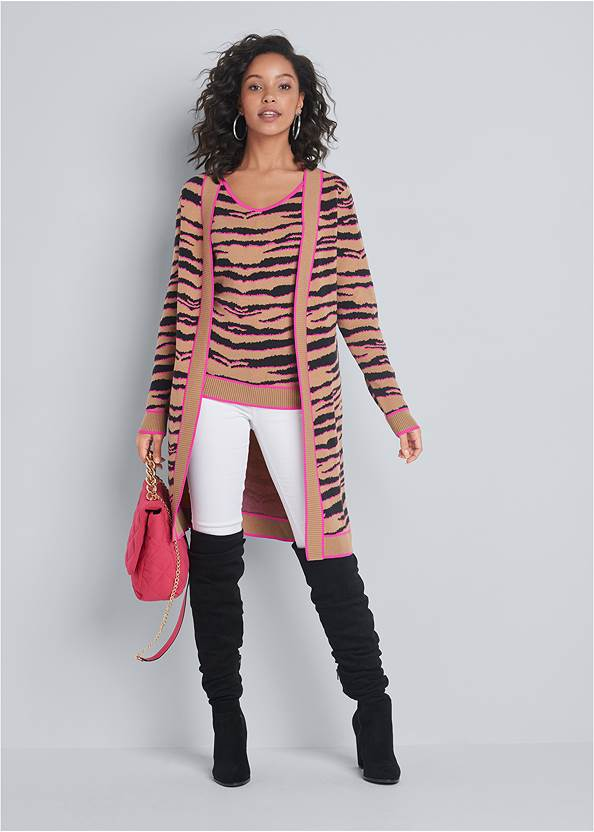 Full front view Tiger Print Duster Set