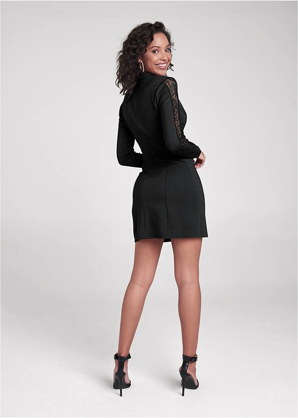 Full back view Lace Detail Blazer Dress