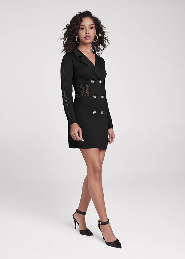 Full front view Lace Detail Blazer Dress