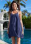 Front View Lace Up Front Cover-Up Dress